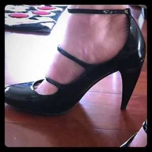 Nicole Miller Patent Leather Ankle Straps